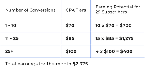 Example Affiliate Earnings Table